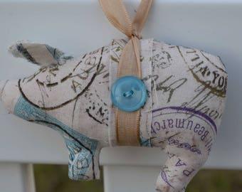 postage stamp pig, pig ornaments, novelty ornament, home decor pig