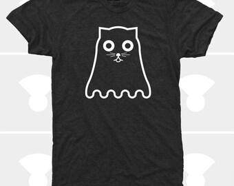 Halloween Cat Shirt, Glow in the Dark, Halloween Cat, Ghost Cat, Mens Halloween Shirt, Mens Shirt, Mens Clothing, Mens TShirt