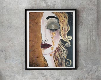Golden tears, original acrylic modernist portrait, tribute to Klimt and the Woman in Gold, Handpainted home gallery, golden black portrait