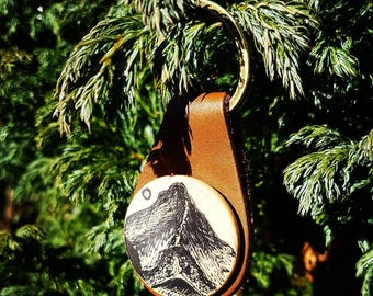 Illustrated wood and leather Key Fob featuring Helvellyn, the Lake District, Uk,