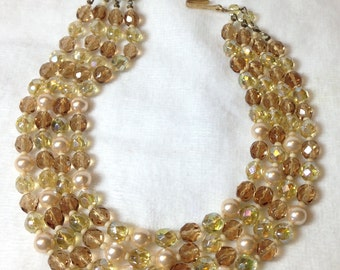 Amber Bead Necklace, Four Strand, Glass, Pearls, Vintage