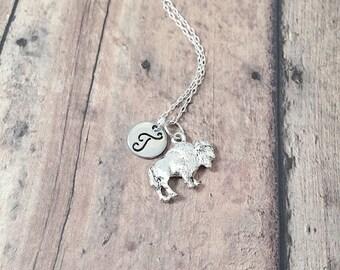 Buffalo initial necklace - buffalo jewelry, bison necklace, silver buffalo pendant, New York jewelry, bison jewelry, Wyoming necklace