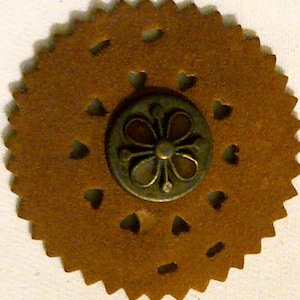 Faux Suede Circle Cut Out - Bronze Metal Hardware with Brown Enamel Clover in Center - Heart Cut Outs