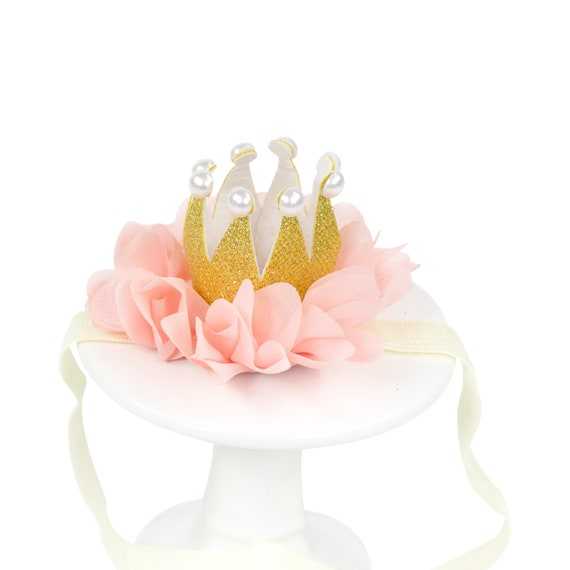 Mini First Birthday Photoshoot Crown, Smash Cake Party Hat,  Birthday Crown, Birthday Photo Prop Pink Party Hat Fabric Glitter Gold One