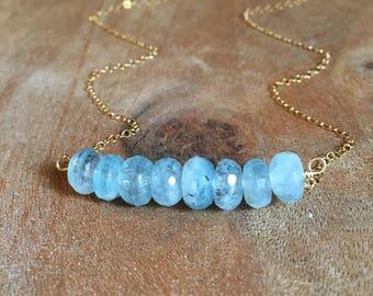 Aquamarine Necklace - Gold Aquamarine Necklace - Silver Aquamarine Necklace - Aquamarine Jewelry - Aquamarine - Gemstone Necklace