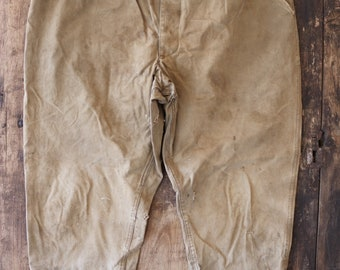 """Vintage french tan brown cotton canvas hunting work chore trousers pants 39"""" x 28"""" workwear button fly"""
