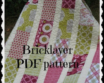 PATTERN Brick Layer Lap Quilt ...easy, uses fat quarters or layer cake -- PDF version