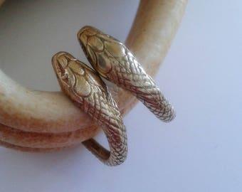 Snake Hoop Earrings in Brass - Snake Earrings - Snake Jewelry - Ouroboros Earrings - Serpent Hoops -Serpent Jewelry - Medusa Earrings