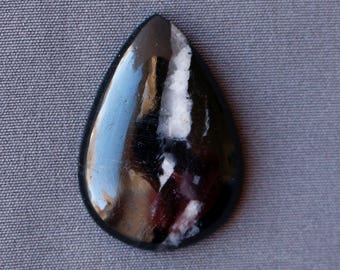 Black Agate with Quartz Stone Cabochon
