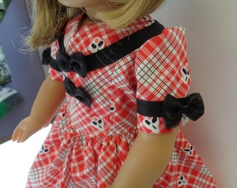 "Red -White -Black- 40's fashion -18"" Doll Dress-Shown on My American Girl Doll KIT"
