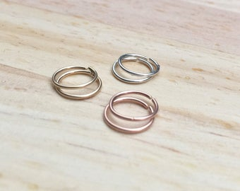 Sterling silver helix cartilage earring, 20 gauge nose ring, Thin gold hoop Small helix earring Gold daith jewelry 22g rose gold earring 14k