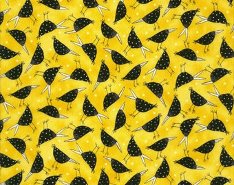 Black Birds Yellow - Family Life Collection by Julia Cairns - Quilting Treasures Fabric 23745-S (sold by the 1/2 yard)