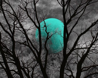 Black White Teal Decor, Teal Moon Tree Decor, Teal Bedroom Home Decor Wall  Art Matted Picture