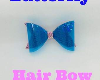 Butterfly Hair Bow, Pink, Transparent Blue, Blue PVC, Headband, Classic Hair Bow