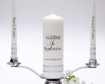 Wedding Unity Candle Taper Set - Signature Design. Fully Personalised & Handmade in UK