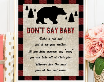 Lumberjack Don't Say Baby Game, Lumberjack Buffalo Plaid Don't Say Baby Sign, Printable Digital File, INSTANT DOWNLOAD