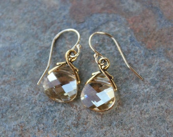Champagne & Gold Crystal Earrings- yellow/gold briolette Swarovski crystal teardrops, 14k gold-fill hooks - free shipping in USA