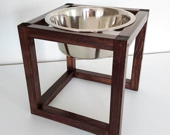 Wood Raised Dog Feeder, Dog feeding station, Pet Feeder made of spruce wood with one large elevated stainless steel food bowl