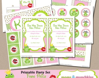 Frog Prince Bridal Shower Printable Party Supplies