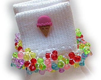 Kathy's Beaded Socks - Pink Ice Cream Cone socks, button socks, girls socks, rainbow socks, beach socks, summer socks