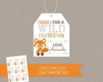 Woodland Fox Birthday or Baby Shower Personalized Thank You Favor Tags - Multiple Styles Available - Woods Thanks Wild