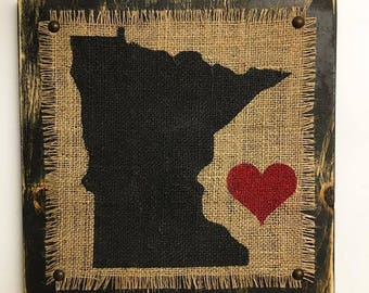 Minnesota, BURLAP Sign, fixer upper, farmhouse, my house beautiful, farm houses, rustic, country kitchen, antique, primitive, STATE, gifts