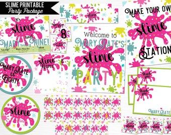Slime Birthday Party Package Printable Digital Decor You Print