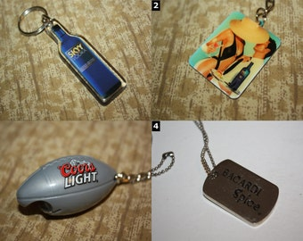 Alcohol Jewelry & Accessories - Jagermeister, Bacardi, Skyy, Budweiser, Coors, etc - SELECT ONE