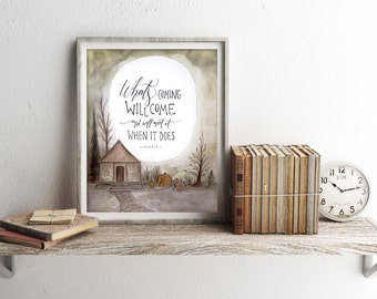 "Harry Potter Art Print, Hagrid Quote Watercolor Printable ~ ""What's Coming Will Come"" ~ Digital Download 8x10 Wall Art Decor"