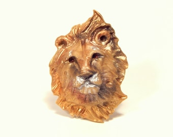 Golden Lion Brooch, Pendant, or Small Ornament, Hand Sculpted Metallic Look Polymer Clay