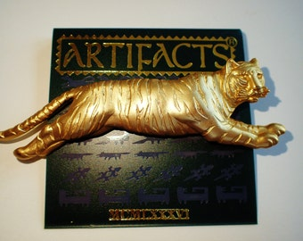 JJ Jonette Gold Tone Leaping Tiger Brooch Pin