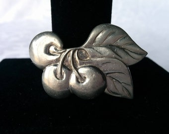 Cherry Pewter Brooch, Pewter Brooch, Brooch, Lucky Cherries, Pewter, Seagull Pewter