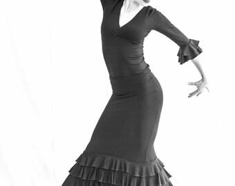 black spandex 4 ruffled flamenco skirt