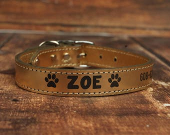 Gold Leather Dog Collar - Personalized Leather Dog Collar - Color Leather Dog Collar - Gold Leather Collar - Engraved Dog Collar