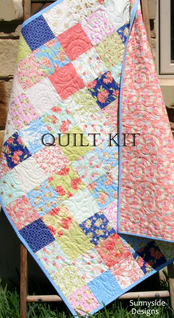 Last one baby girl quilt kit aloha girl fig tree quilts moda fabrics last one baby girl quilt kit aloha girl fig tree quilts moda fabrics flowers coral blue yellow beginner simple patchwork diy do it yourself from solutioingenieria Images