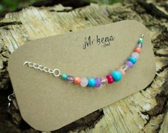 Turquoise and Agate Cute Boho Beaded Bracelet