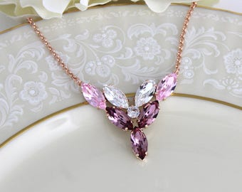 Crystal Bridal necklace, Rose gold necklace, Bridal jewelry, Pink crystal necklace, Marquise stone necklace, Bridesmaid necklace, Wedding