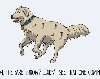 Golden Retriever Postcard: Oh, the fake throw?....Didn't see that one coming