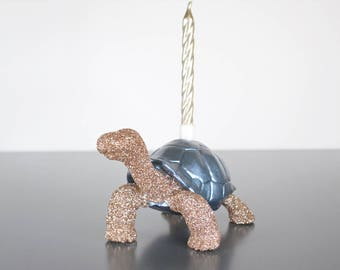 Tortoise Birthday Candle holder, Gold Glitter Cake Topper, Cake Candle Holder, Animal Cake Topper, Birthday Cake Topper, 1st Birthday