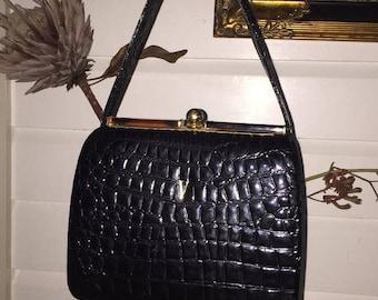 Vintage faux snake skin handbag