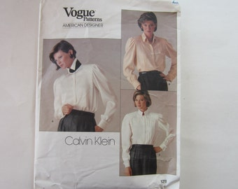 Vogue 1211 Vintage Calvin Klein  Blouse Uncut Pattern Size 14, Calvin Klein Vogue Blouse Pattern 1211, Vogue Uncut Pattern, Calvin Klein