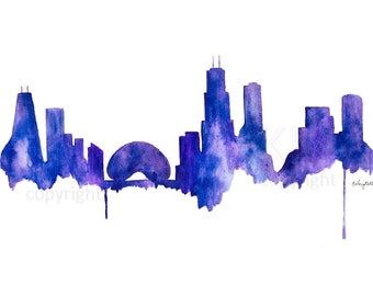 Watercolor Painting Chicago Skyline Print Wall Art Abstract Painting Minimalist Painting Large Wall Art Housewarming Gift living room decor