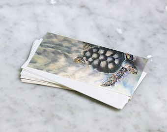 "The Long Haul Pano Card and Envelope - Sea Turtle on Sand Blank 4"" x 9"" Greeting/Note Card"