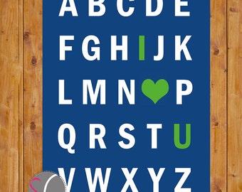 I Love You Alphabet Nursery Art Printable Nursery Room Decor  Neutral Navy Blue Lime Green Nursery Wall Decor 11x14 Instant Download (14-ng)