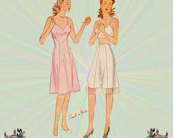1940s Slip and Half Slip Pattern with Option for Ribbon Straps, Size 18 Bust 36, Unprinted Simplicity Sewing Pattern 4628