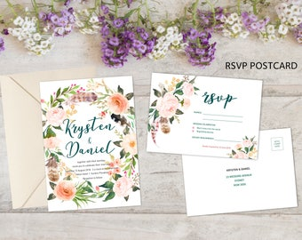 Wedding Invitation   Printable Wedding invitation   Wedding Suites   RSVP   Custom, Personalised Wedding Stationery   Floral Wedding suite