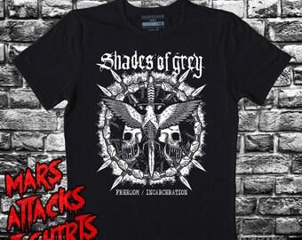 Shades Of Grey T Shirt Freedom Incarceration Crust Neocrust Dark Hardcore D-Beat Discharge Doom Tragedy Massmord Schifosi Cop On Fire M:40