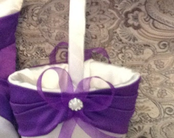 wedding flower girl basket ivory or white with purple custom made