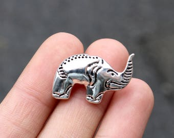 set of 5, elephant beads, silver beads, metal beads, animal bead, 24mm ×16mm, bright silver beads, animal beads, small elephant,