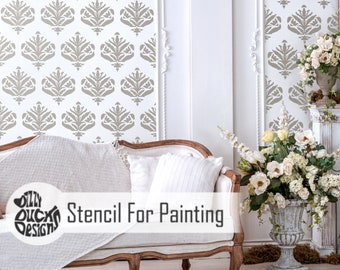 JASMINE DAMASK STENCIL - French Romantic Furniture Wall Craft Stencil for Painting - JASM01